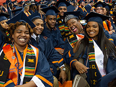 Group of student of color at 2018 Commencement ceremony.